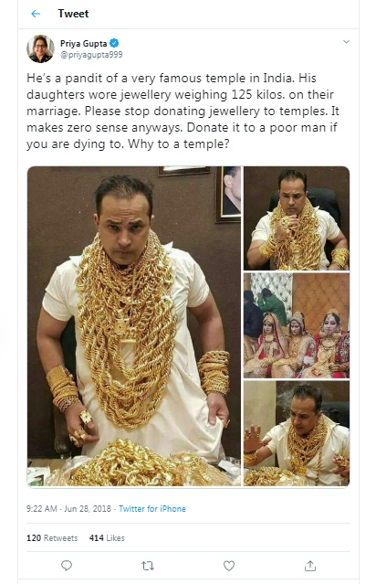 Image of Twitter post about Tirupati Temple Priest and Daughters Wearing Lot of Gold