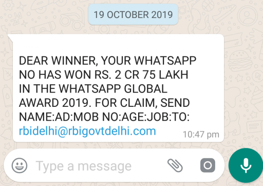 Image about Your Number Won RBI WhatsApp Global Award