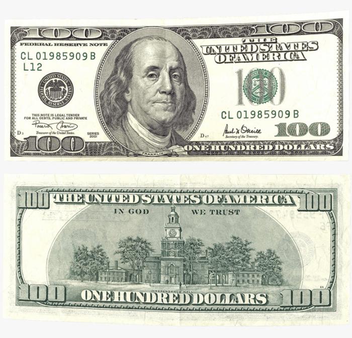 Original 100 dollar used in Photoshop