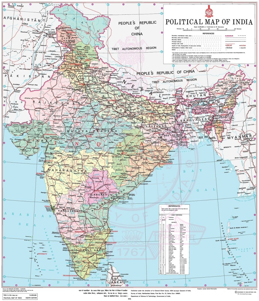 Official Map of India showing the two new UTs Ladakh and J&K