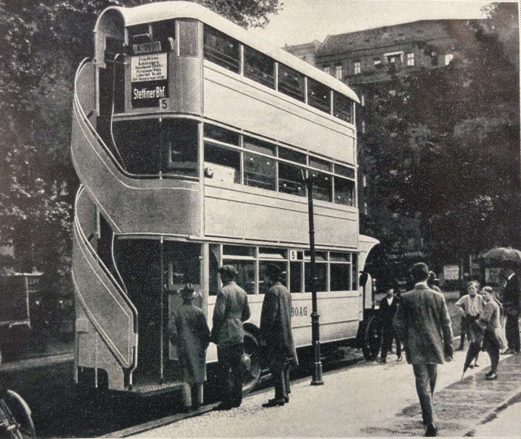 Image of Triple Decker Bus in Berlin - April fools prank photograph from German magazine Echo Continental