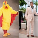 Image about Brad Pitt Chicken Suit Maskot for El Pollo Loco