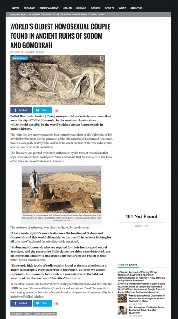 Image of origin article on satirical, World News Daily News Report website