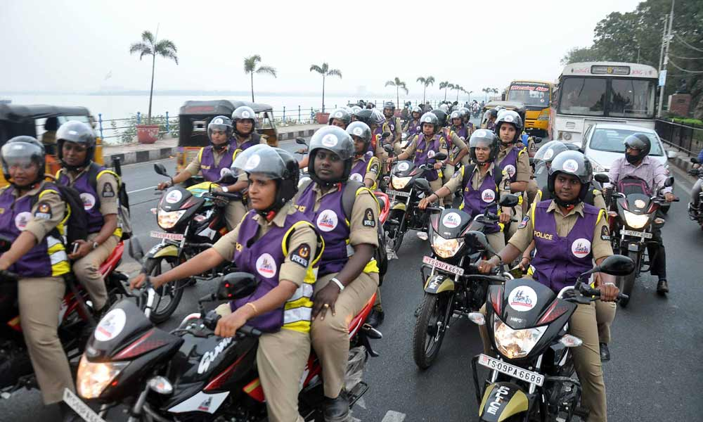 Image of Police Women on Wheels (WoW) patrol the Hyderabad city on bikes