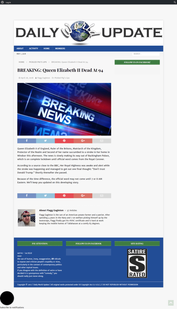 Screenshot of satirical article on Daily World Update website