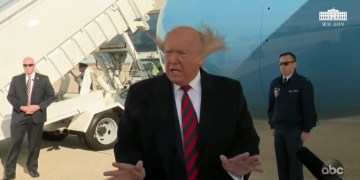 Image about Trump's Wig Blowing Off Plane Engine Propeller, Video
