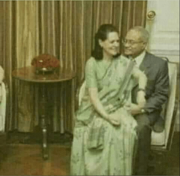 Image about Sonia Gandhi sitting on lap of Maumoon Abdul Gayoom