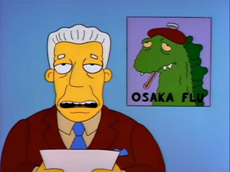 Actual image from the Simpsons episode about Osaka Flu