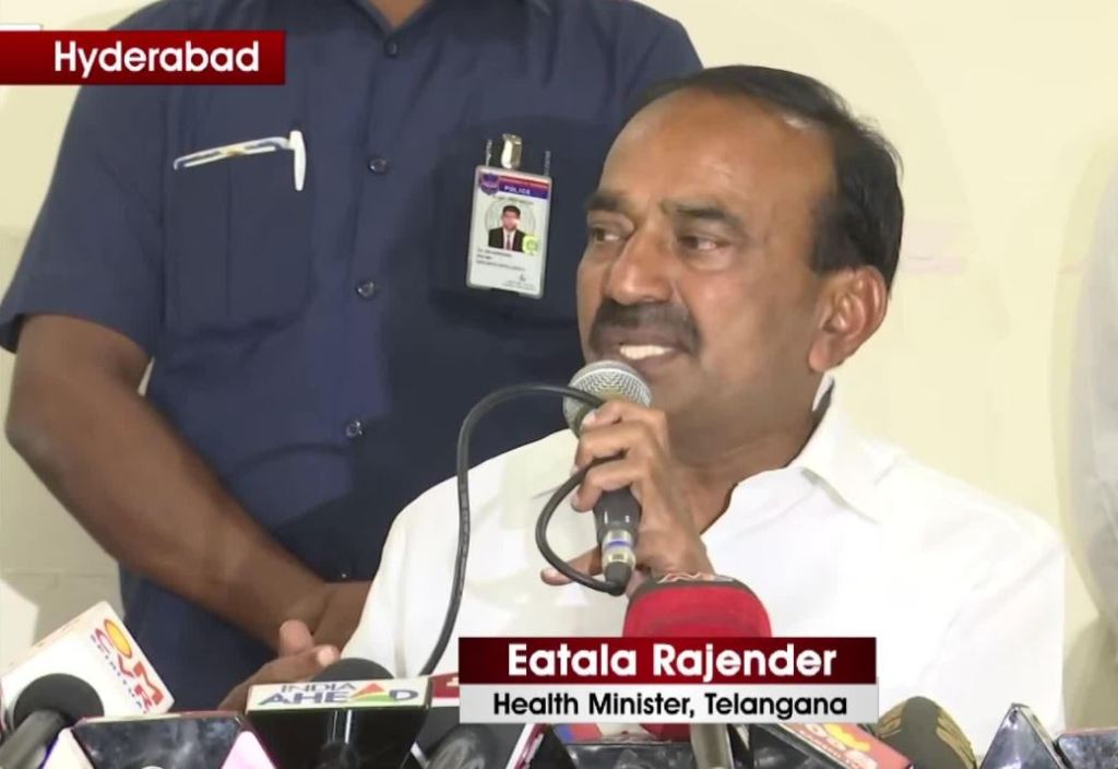 Image of Telangana Health Minister talking about Coronavirus under control
