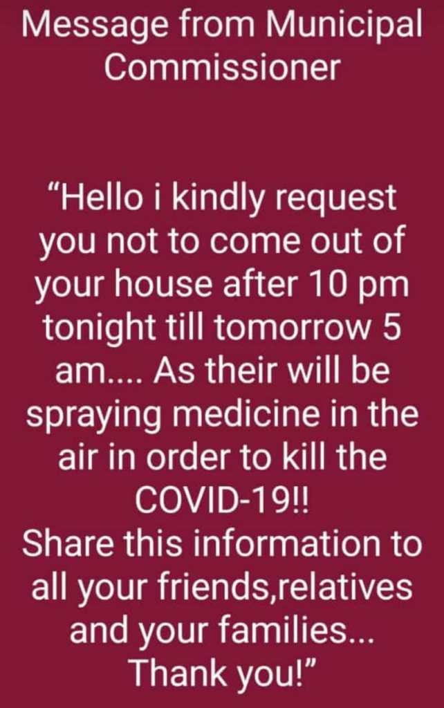 Image about Govt. Spraying Medicine to Kill COVID-19 in Air at Night
