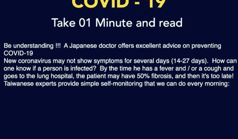 Japanese Doctor COVID-19 Self-Check & Prevention: Fact Check
