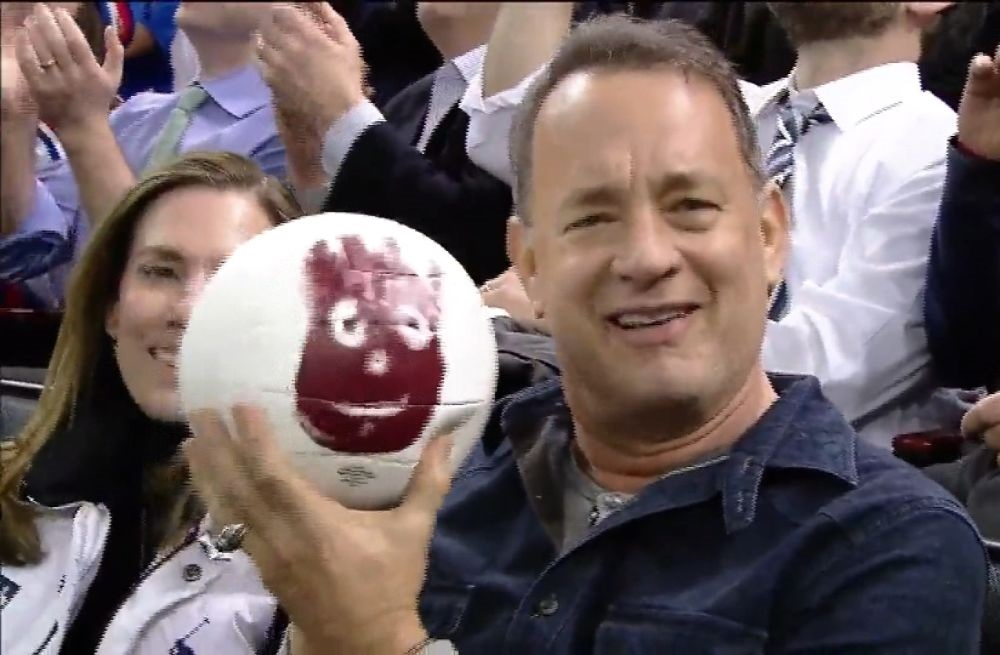Image of Original photograph of Tom Hanks with a Wilson Volleyball back in 2015