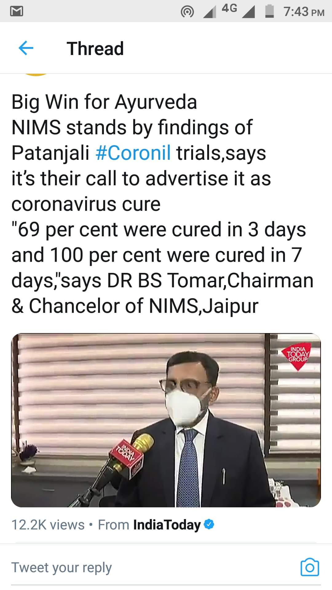Image about NIMS Stands by Findings of Patanjali Coronil Trials