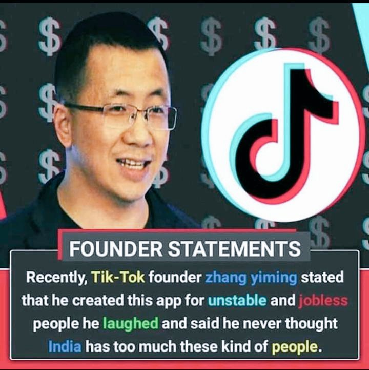Image about Tik Tok Founder Calls Indians Jobless, Unstable