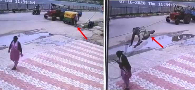 Image of Auto Driver Comes Flying and Crashes Into Woman, Video