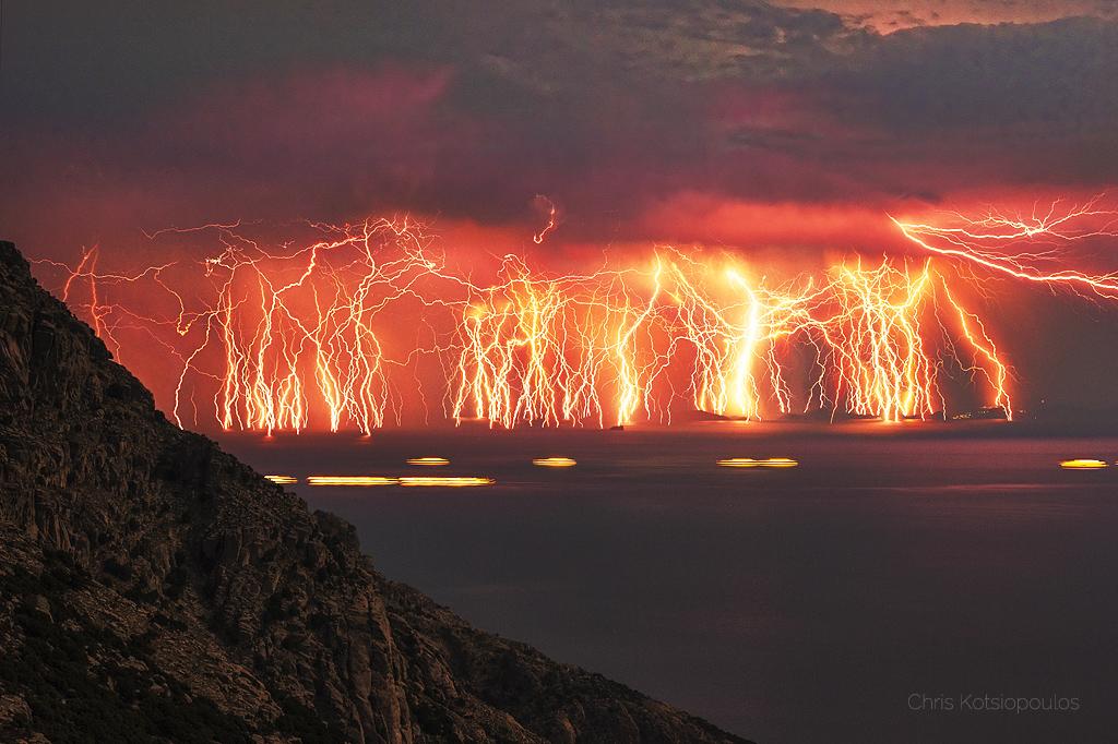 Image of Sequence of lightning captured over Ikaria Island, Greece