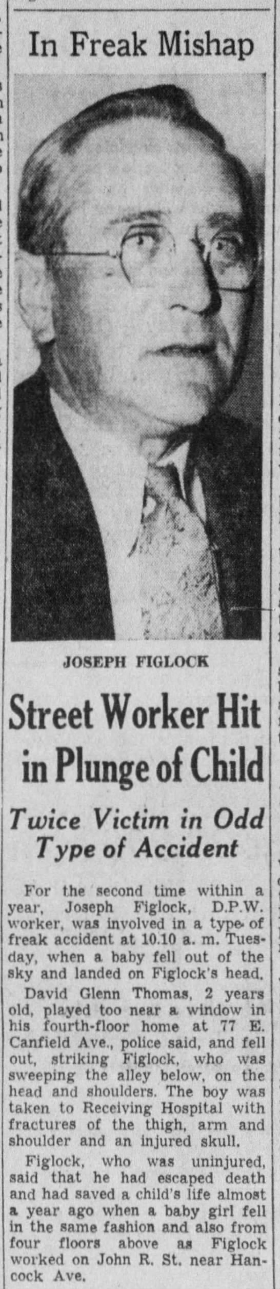 Image of Newsprint report on accidents with Joseph Figlock