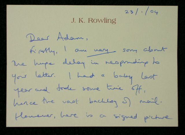 JK Rowling Signed Photo  First Impression Harry Potter  the Philosophers Stone