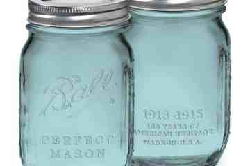 Mason jars in vintage blue