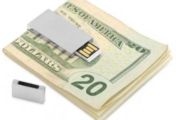 Ravi Ratan brushed silver USB drive money clip