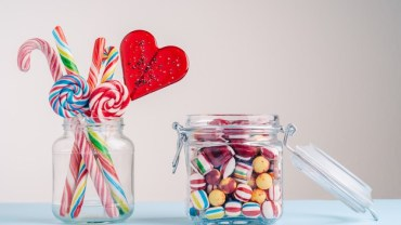 Sweets in glass jars.