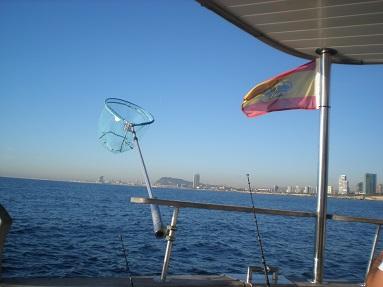 Angelrevier im Mittelmeer bei Barcelona.