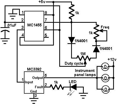 Instrument panel lamp dimmer control circuit diagram and