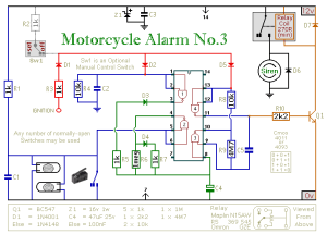 A Cmos Based Motorcycle Alarm circuit diagram and instructions