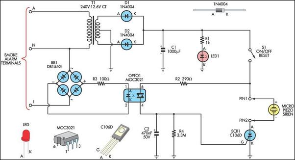 remote alarm for smoke detector circuit diagram and instructions
