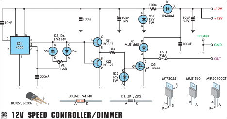 Led Dc 12v Wiring 12v Speed Controller Dimmer Circuit Diagram And Instructions
