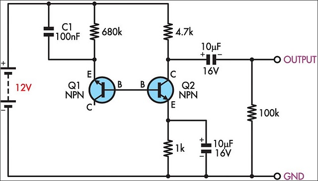 Simple White Noise Generator circuit diagram and instructions