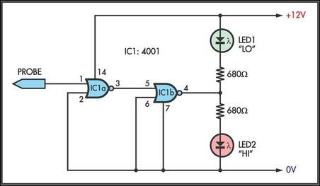 Simple Logic Probe circuit diagram and instructions