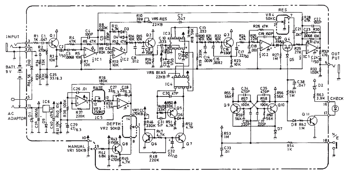 Boss BF-2 flanger guitar pedal schematic diagram