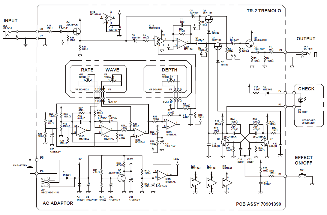 Boss TR-2 Tremolo Pedal Schematic Diagram