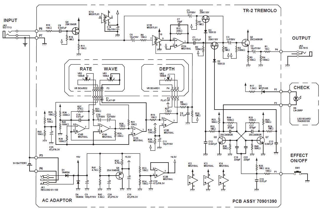 fig 1 boss tr2 tremolo guitar pedal schematic diagram