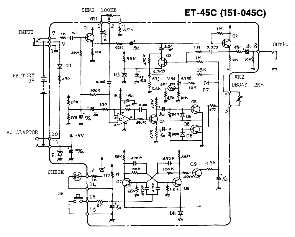 Boss NF-1 Noise Gate Guitar Pedal Schematic Diagram
