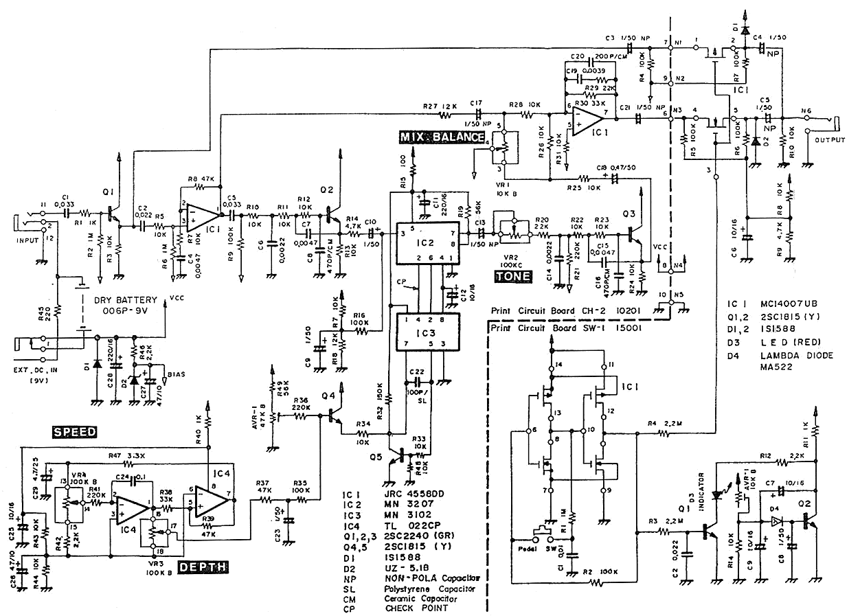 pedal schematic electronic motor control circuits chorus pedal