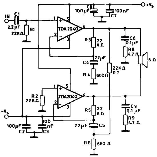 TDA2040 Schematic diagrams