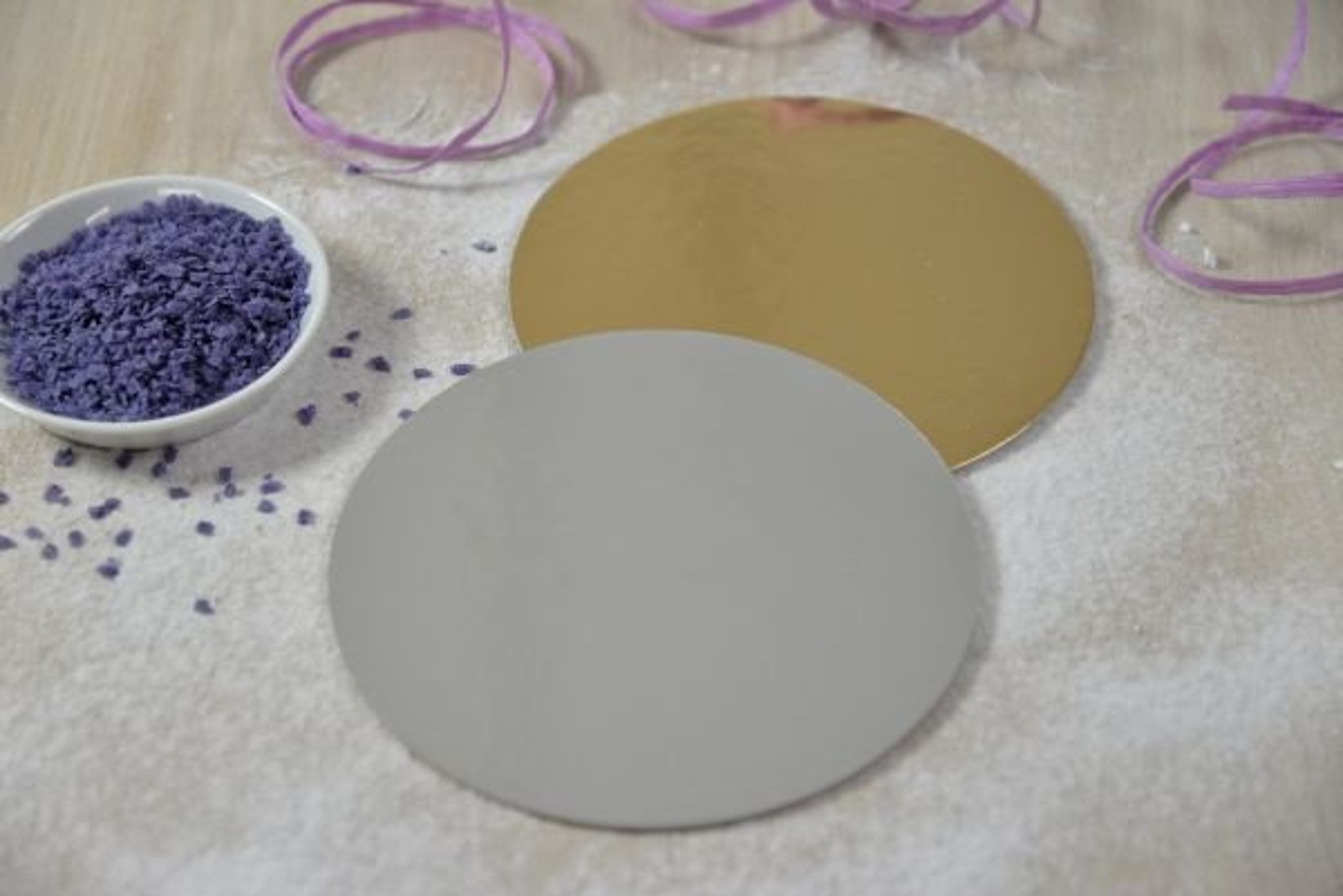 Cake Board  Tortenplatte  ca 15 cm silbergold 3 mm