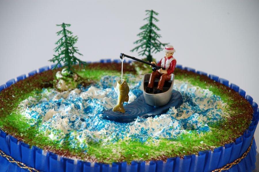 AnglerSet  1 Angler mit Fisch und 2 Bume