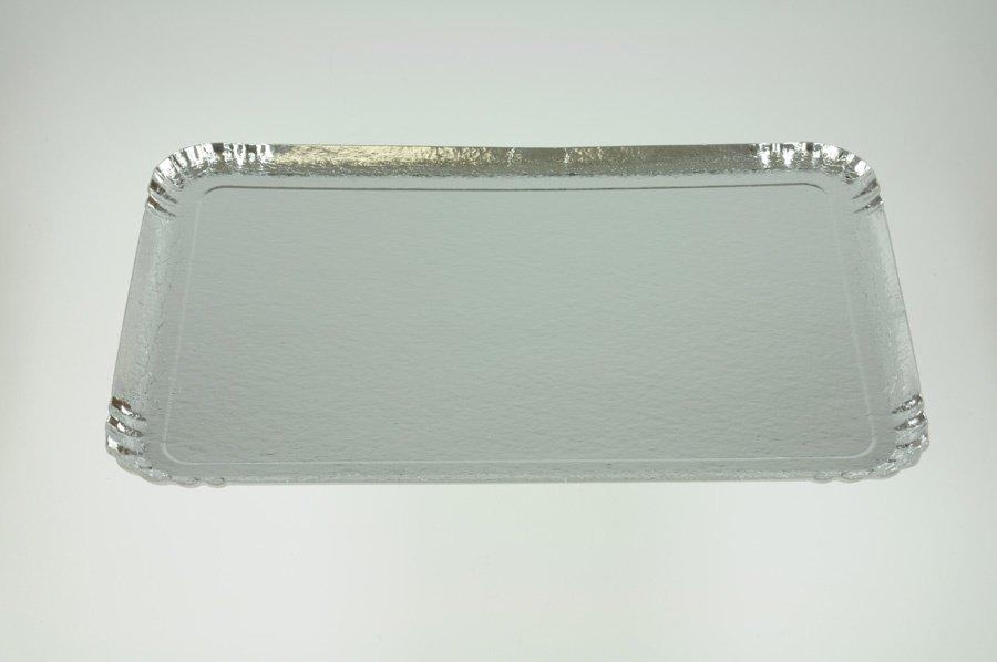 Servier und Tortentablett silberfarben 42 x 28 cm 5 Stck