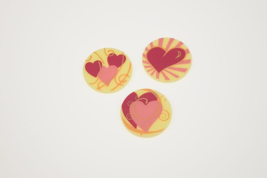 Herzen Romantik weie SchokoladenAufleger 24 Stck