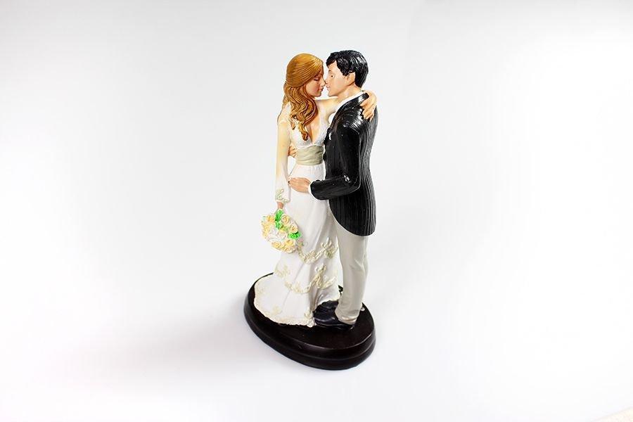 Brautpaar Kuss mit Brautstrau 18 cm