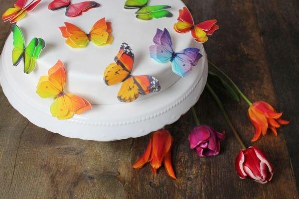Schmetterling 3D OblatenAufleger 12 Stck bunt sortiert