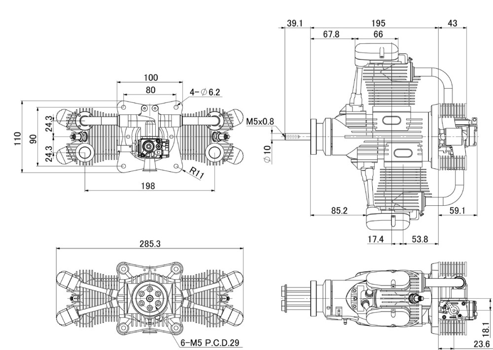medium resolution of saito fg 100ts 100cc twin 4 stroke petrol engine larger image