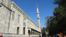 Outside the Blue Mosque, looking at a minaret