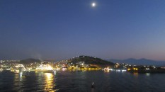 Kusadasi by moon and shiplight