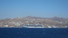 Our ship docked away from the main Mykonos port