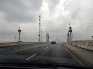 Driving across one of the awesome LA River bridges