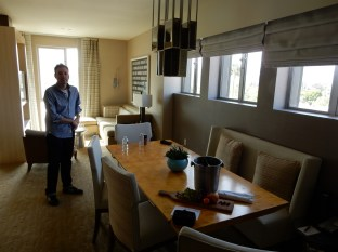 Inside our lux suite - we were treated to a bottle of champagne and snacks by the hotel